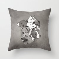 dogs Throw Pillows featuring Dogs by Ronan Lynam