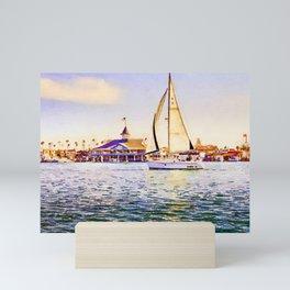 Sailboat at Newport Beach Watercolor Mini Art Print