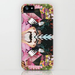 let them eat cake! a pink and green paper collage iPhone Case