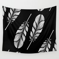feathers Wall Tapestries featuring Feathers by Norman Duenas