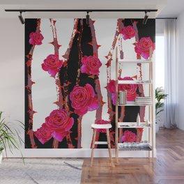 MODERN ART PINK ROSE BLACK & WHITE ART Wall Mural