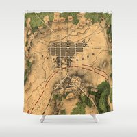 battlefield Shower Curtains featuring Vintage Map of The Gettysburg Battlefield (1863) 3 by BravuraMedia