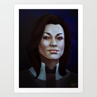 nan lawson Art Prints featuring Mass Effect: Miranda Lawson by Ruthie Hammerschlag
