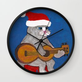 Christmas Cat Playing a Guitar and Wearing a Santa Hat Wall Clock