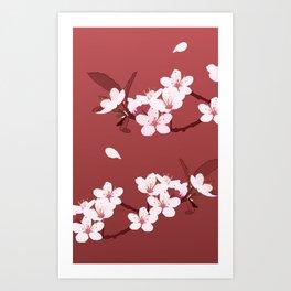 Sakura on red background Art Print