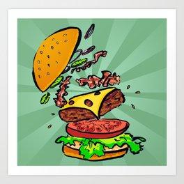 Bacon Cheeseburger Explosion Art Print