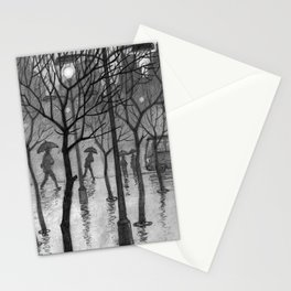 Bus stop in the rain Stationery Cards