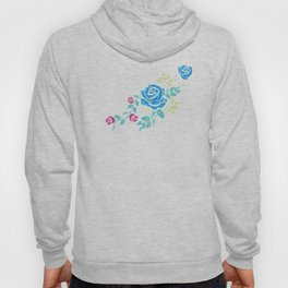 Blue Embroidery Rose Hoody