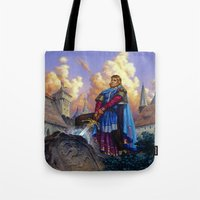 tyrion Tote Bags featuring King Arthur by Hescox