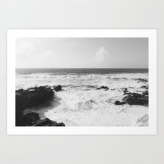 Vintage film style Black and white coast. Art Print