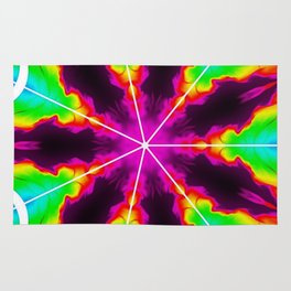 Rainbow Fire Starburst Rug