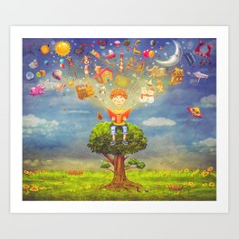 Little boy sitting on the tree and  reading a book, objects flying out Art Print