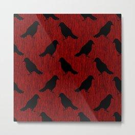 Black Ravens on Blood Red Metal Print