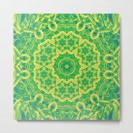 mystic mandala in green and yellow Metal Print
