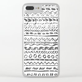 Black and White Tribal Pattern Clear iPhone Case