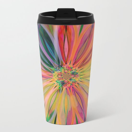 Tropical Rainbow Daisy Metal Travel Mug