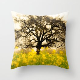 Big Lonely Tree In Buttercup Meadow Ultra HD Throw Pillow
