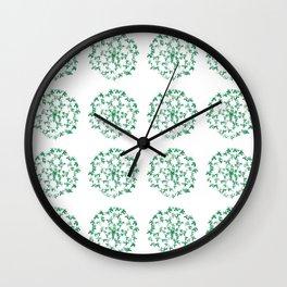 Green Butterfly Flower Wall Clock