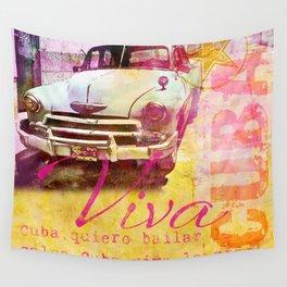 Viva Cuba retro car mixed media art Wall Tapestry