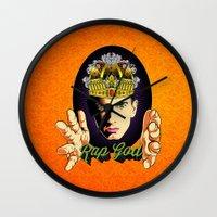 rap Wall Clocks featuring Rap God by RJ Artworks