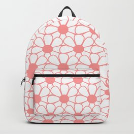 Polka Dot Daisies - Cheerful Retro Daisy Floral Pattern in Mamie Pink and White Backpack