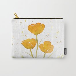 Watercolor California Poppies Carry-All Pouch