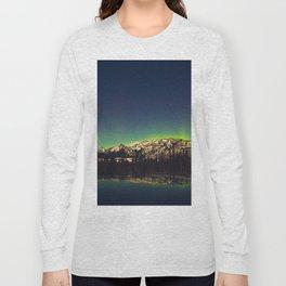 Northern Light Green Aurora Over Dark Arctic Mountains Landscape Long Sleeve T-shirt