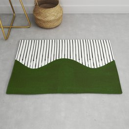 lines and wave (green) Rug
