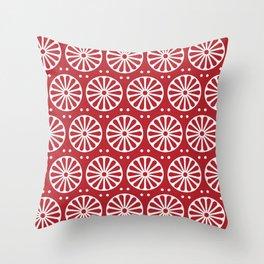 Red Rosette Throw Pillow