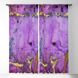 Purple Ink Gold Glitter Marble Blackout Curtain