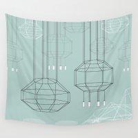 chandelier Wall Tapestries featuring Geo Chandeliers - Green by Sweet Karalina