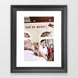Cafe Du Monde Waitress Framed Art Print