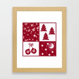 Bright red and white Christmas background Framed Art Print