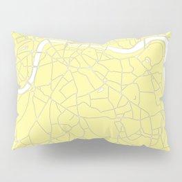 London Yellow on White Street Map Pillow Sham