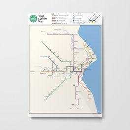 Milwaukee Transit System Map Metal Print