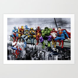 Superhero Lunch Atop A Skyscraper Art Print