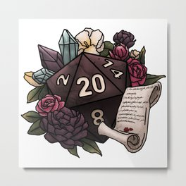 Warlock Class D20 - Tabletop Gaming Dice Metal Print