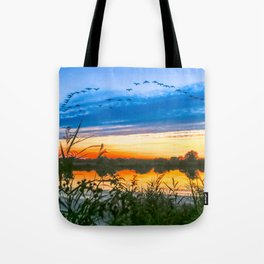 Sunset at The Fens, Norfolk, U.K Tote Bag