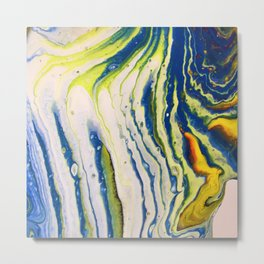 Feathery abstract acrylic art in blue yellow and white Metal Print