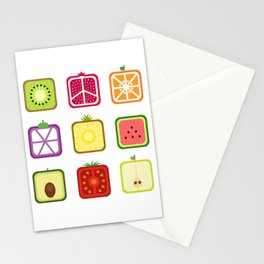 Squared Fruits Stationery Cards