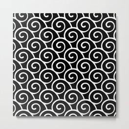 Wave Pattern Black & White Metal Print