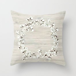 Cotton Wood Wreath Throw Pillow