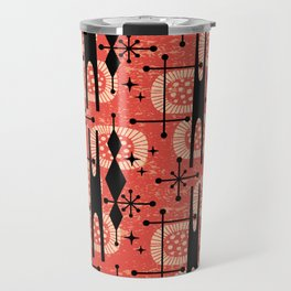 Retro Atomic Mid Century Pattern 771 Red Travel Mug