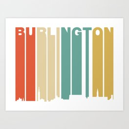 Retro 1970's Style Burlington Vermont Skyline Art Print
