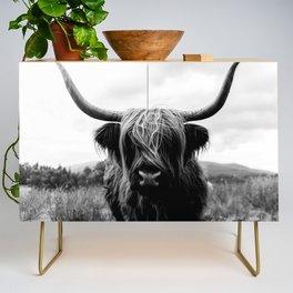 Scottish Highland Cattle Black and White Animal Credenza