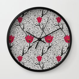 Art Nouveau Tulip Damask, Grey / Gray and Red Wall Clock
