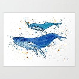 Whale Mommy and Baby Art Print