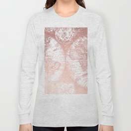 Rose Gold Pink Antique World Map by Nature Magick Long Sleeve T-shirt
