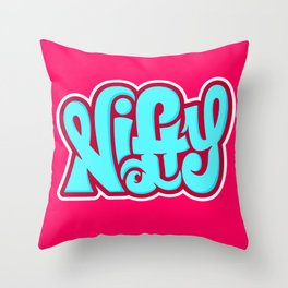 NIFTY HAND LETTERING DESIGN III (BLUE ON PINK) Throw Pillow