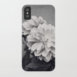 Black and White Dahlia Flower Photography, Grey Floral, Gray Neutral Nature Petals iPhone Case